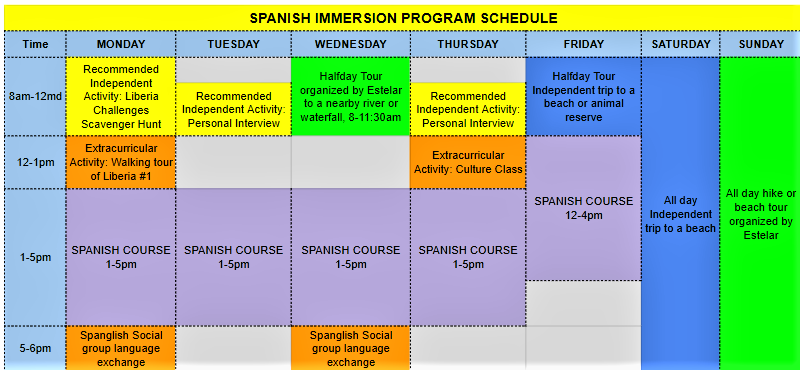 Practice Spanish constantly with our activity schedule